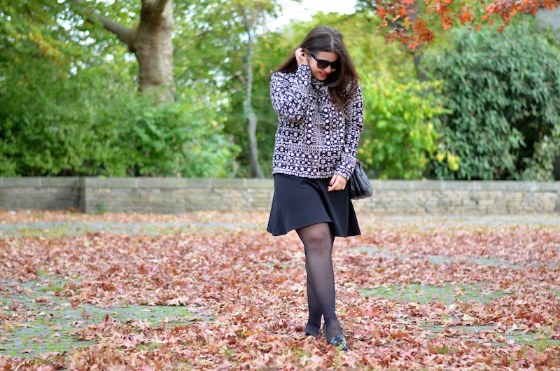 Black White Leather Herbst Outfit 01