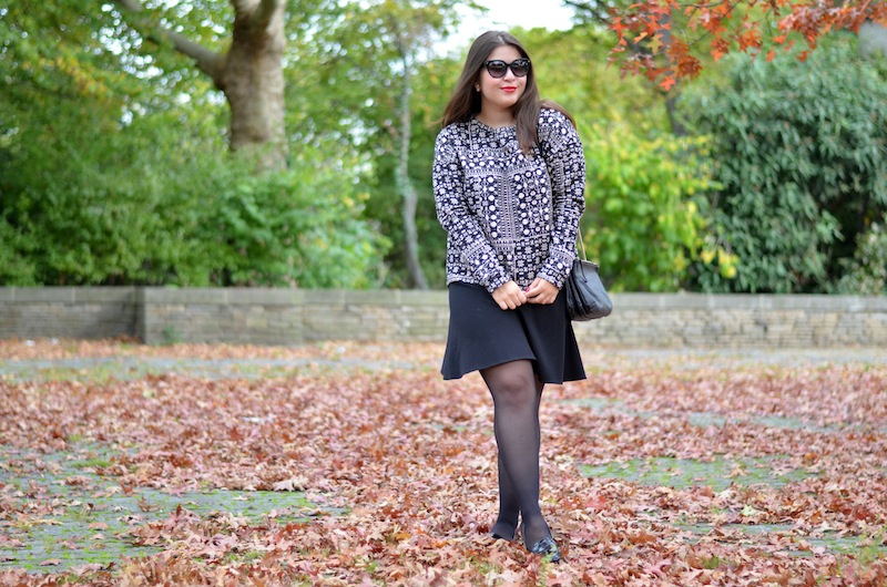 Black White Leather Herbst Outfit 02