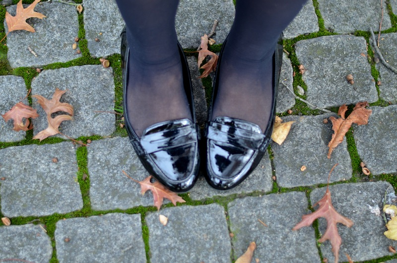 Black White Leather Herbst Outfit 05