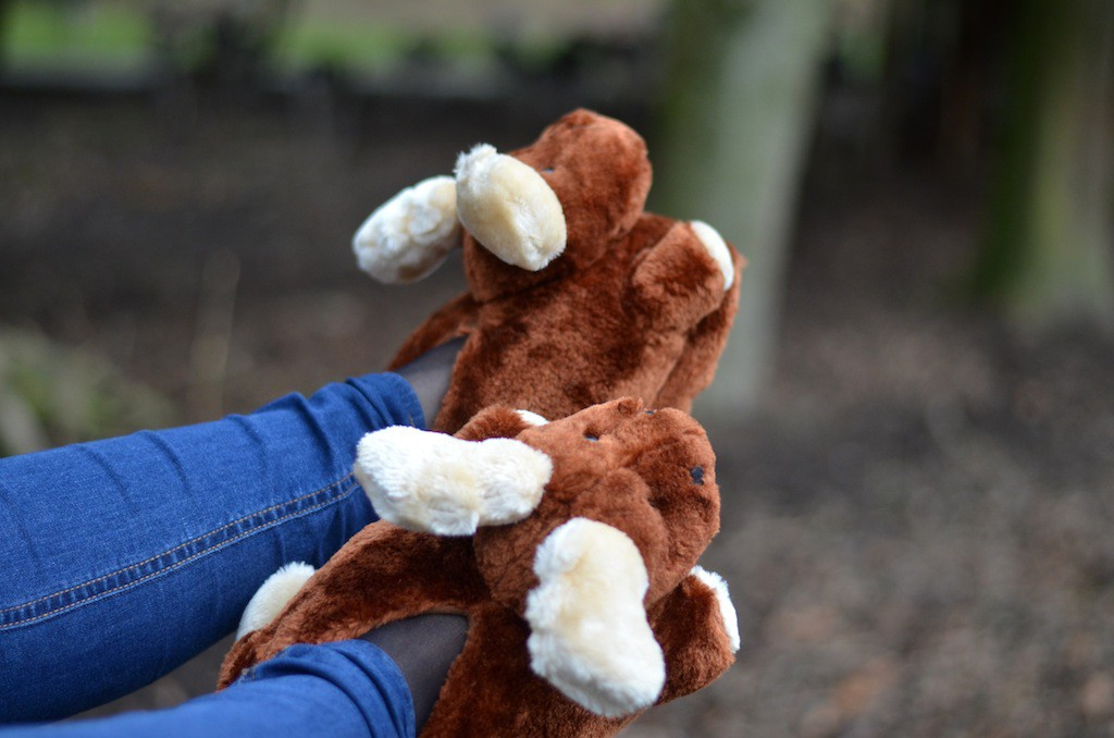 FunSlippers Elch Spaziergang im Wald