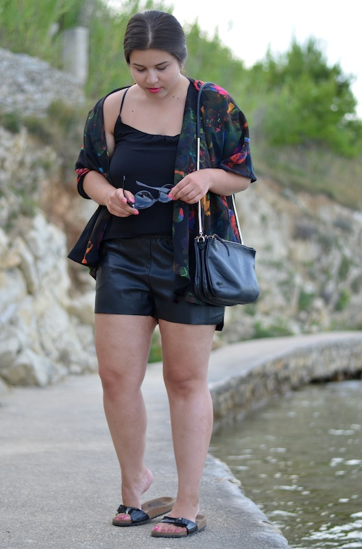 H&M Leather Shorts 01